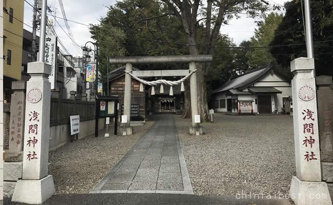 北口駅前にある神社